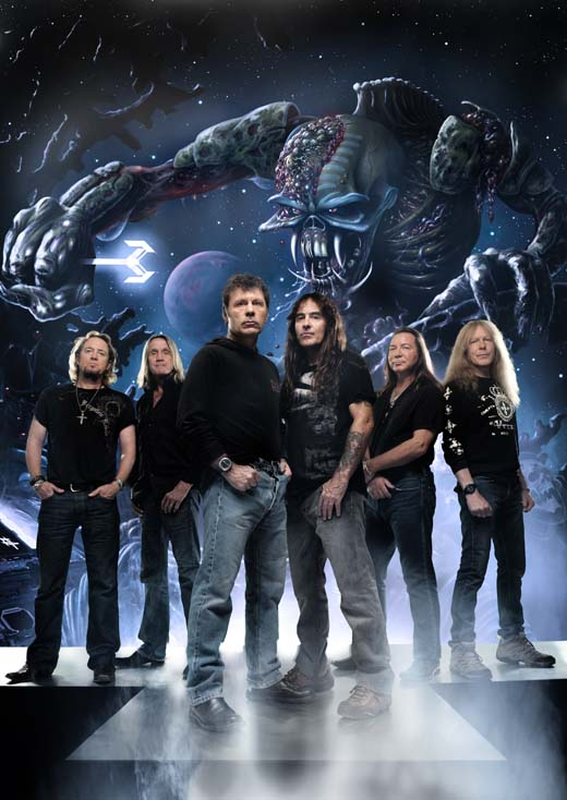 Iron Maiden. Nicko McBrain 2nd from left.