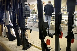 Shopping for assault rifles.